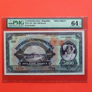 Czechoslovakia Pick # 19s, Specimen, 1920,  5000 Korun, PMG 64 EPQ Choice Unc