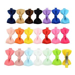 20 Mixed Bow Boutique Hair Clip Pin Alligator Clips Soft Satin Ribbon Bow Girl