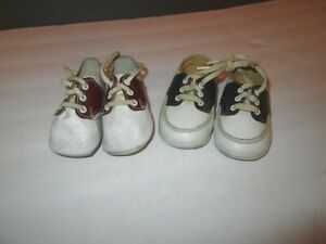 2X Lot VINTAGE 50's Saddle BABY SHOES Brown & Black LEATHER Lace Up INFANT Crib