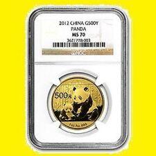 2012 CHINA 500Y 1 OZ GOLD PANDA NGC MS 70 RARE 1