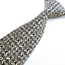 NEXT 100% Pure Silk Ivory Black Geometric Mens Tie