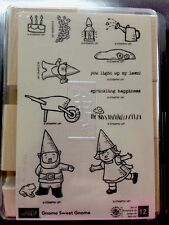 """GNOME SWEET GNOME"" Stampin'UP! NEW~WOOD~unmounted-little gnome things~set/12"