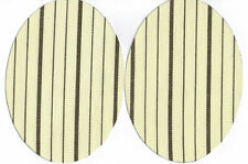 IRON-ON PATCHES - STRIPE PATT - CREAM/BLACK OVAL  SHAPED - COTTON