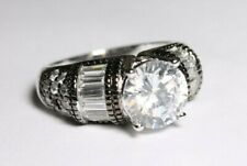 Sterling Silver Ring Size 8 Clear CZ Gems