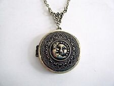 "Locket Pendant Necklace On 30"" Chain New Round Embossed Gold Tone Moon & Sun"