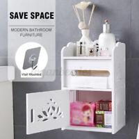 Wall Mounted Storage Cabinet Makeup Drawer Bathroom Shelf Organizer w/Tissue