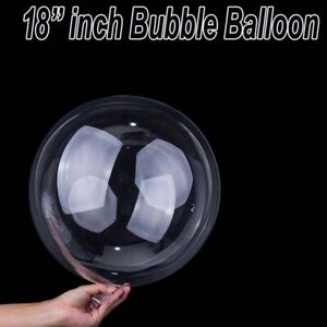"Round Bubble Balloon Transparent 18"" inch Big birthday Ballons Any Occasion UK"