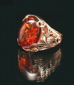Real Baltic Amber 14k Rose Gold Filled Large Oval Ring  7.5 O Ornate Russian