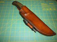 Esee 6 Custom Hand Made USA Leather Belt Sheath RH w/ Ferro Rod, Form Fit, Brown