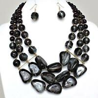 Black Purple Necklace Earrings Chunky Layered Acrylic Beads Jewelry Set