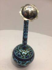 antique islamic enamel silver rosewater sprinkler