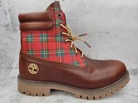 """Timberland Men's Premium 6"""" inch Brown Leather Boots HOLIDAY Sugar Spice Size 8"""