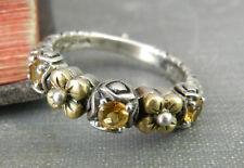 Barbara Bixby Sterling Silver & 18K Gold Flower Citrine Band Ring - Size 6.75