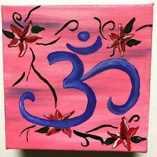 "Mini Acrylic Painting Canvas Original Signed OM OHM AUM HINDU YOGA MEDITATION 6"""