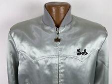 Vintage Walls Embroidered Bob Polyester Satin Western Bomber Jacket Men M Silver
