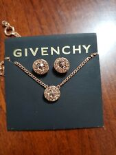 Givenchy Rose Gold Austrian Glass  Pave Pendant Necklace and Stud Earrings Set