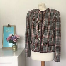 JAEGER - Size UK 14 RETRO 80's vintage blazer JACKET Wool checked Q1
