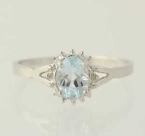 NEW Aquamarine & Diamond Ring - Sterling Silver Oval Solitaire w/ Accents 925