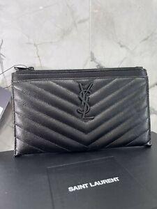 YSL Yves Saint Laurent Saint Laurent Paris Pouch Quilted Leather Monogram Black
