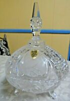 Vtg. Crystal Clear Hand Cut 24% PBO Lead Crystal Covered Candy Dish West Germany
