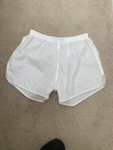 White nylon retro vintage football shorts XL