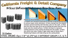 Steel 55gal Drums/Barrels-5pc Set of 3, 5 & 7 N/1:160-CAL Freight & Details Co