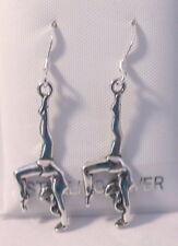 Sterling Silver Gymnast Charms on Sterling Silver Ear Wire Dangle Earrings- 1390