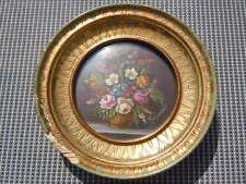 Miniature sur cuivre nature morte bouquet de fleurs signée Raymondi