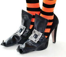 Adult Ladies Halloween Fancy Club Party Witch Shoe Covers With Silver Buckles UK