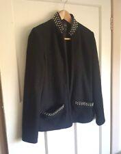 Zara Trafaluc Black Wool Blend Blazer Jacket Gold Studs Evening Size Small UK 8