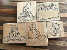 5 rubber stamps - all teddy bears!