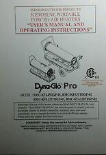 Dyna-Glo Forced Air Heater User Operators & Parts Manual 24p Diesel Kerosene RMC