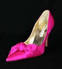 CHRISTIAN LACROIX Hot Pink Satin Large Bow Pointed-Toe Heels Pumps 37