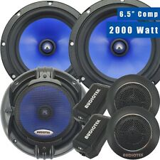 (2) Pairs 65C 2000W 6.5-Inch 2-Way Car Audio Component Speaker System 6-1/2in