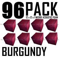 96 pack BURGUNDY Acoustic Wedge Sound Recording Studio Foam SOUNDPROOF 12x12x1
