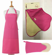 """Belle Textiles Quality """"Pink"""" - Apron - Oven Gloves - Gauntlet - Made in the Uk"""