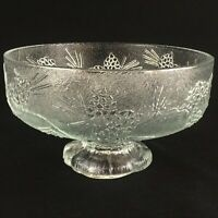 "VTG Footed Serving Bowl 7 7/8"" Tiara Ponderosa Pine Indiana Glass Co Pinecones"