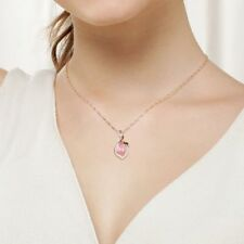 Lady Women Chain Pink Opal Stone Pendant Rose Gold Plated Jewelry Necklace