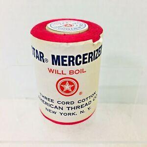 Vintage Star Mercerized American Thread Co 1200 Yard Watermelon 3 Cord Cotton