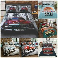 Retro Garage American Duvet Cover Set USA Flag Classic Car Scooter Bedding Set