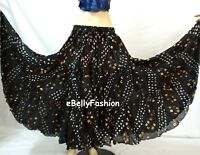 BLACK Skirt 16 Yard 3 Tier Cotton Tribal Gypsy Belly Dance Tie & Dye Polka dot