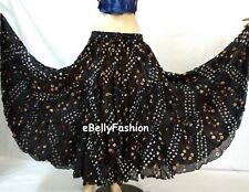 BLACK Skirt 16 Yard 3 Tier Cotton Tribal Gypsy Belly Dance Tie & Dye Polka dot