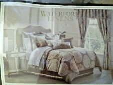 WATERFORD LINENS DARCY King Size Gray COMFORTER SET PEWTER w/ Sham bed skirt