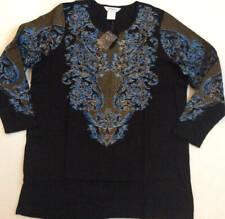ULLA POPKEN XL 12W/14W Long Sleeve Black Blue Gold Beaded Tunic Top