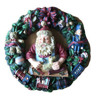 "Santa's Workshop Resin Christmas Wreath 11"" Diameter Train Nutcracker Bear Gift"