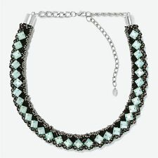 Zara NWT Necklace Multicolor Green Black Tube Silver Beads Jewelry Chic