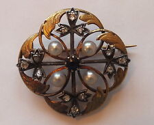 Victorian Diamond Brooch 18k Gold Pearl and Sapphire