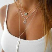 Women Jewelry 925 Silver Gold Feather Choker Chunky Chain Bib Necklace Pendant