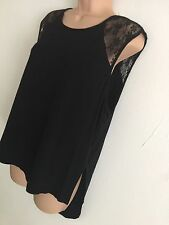PRIMARK PYJAMA TOP BLACK LACE INSERT SIZE 18-20 NEW
