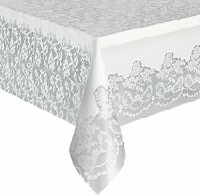 White Lace Plastic Tablecloth Table Cover Size 9ft x 4.5ft BRAND NEW
